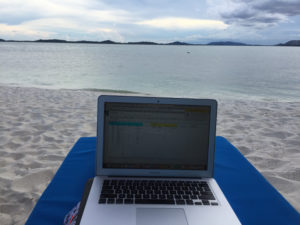 laptop beach